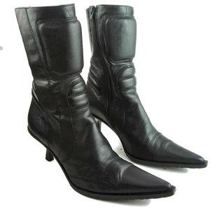 BRONX Leather Kitten Heel Pointed Toe Booties